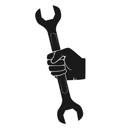 Hand holding adjustable wrench tool. Hardware tool in hand black silhouette.