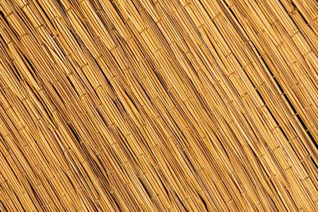 Woven straw texture. Handmade woven rug. flaxen weaving yellow mesh close up image.