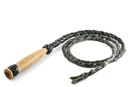 leather whip isolated on white Stock Photo - 11064429