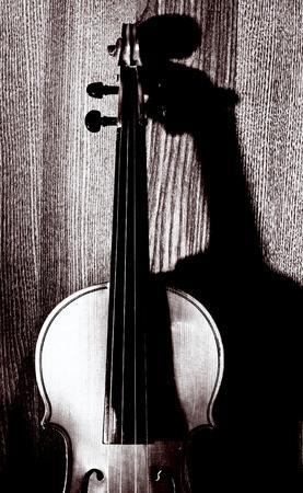 violist: viool op houten achtergrond