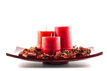 wax candles for decoration and christmas atmosphere photo