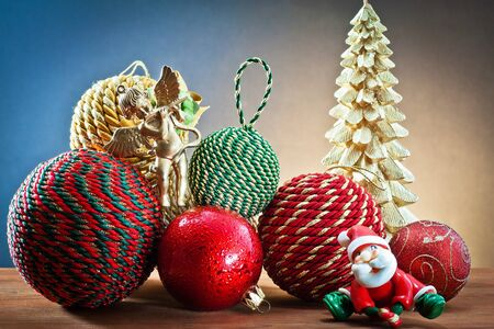 christmas balls, golden angel and Santa Claus for Christmas decoration photo