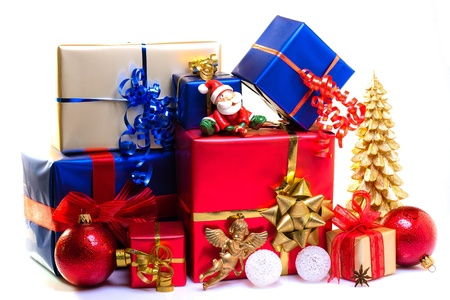 blue gift box: Christmas gift boxes decorated for Christmas