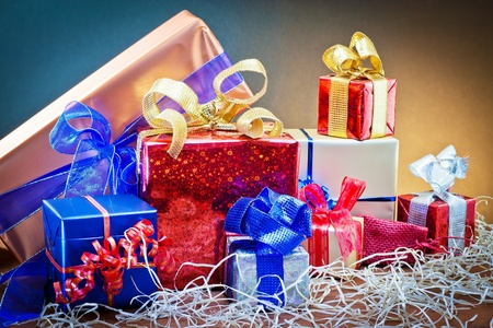 groups of gift items decorated with different paper Standard-Bild