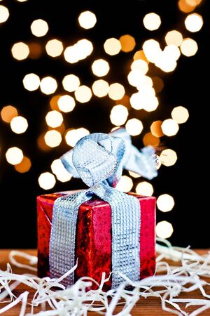 gift box and light bokeh background photo