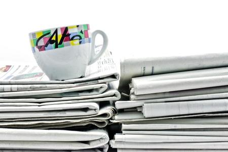 newspaper and caffee 写真素材