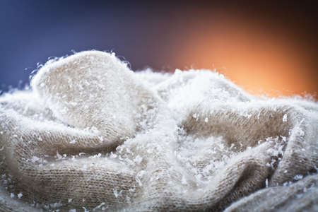 Snow placed on wool sweater Stock Photo - 11646174