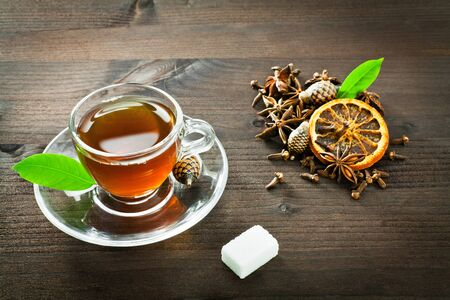 sugar cube: hot tea in a small cup  Stock Photo