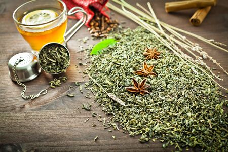 anise: green tea and aromatic spice for decoration