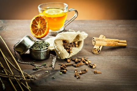 aromatic spices and decoration for tea   Stock Photo