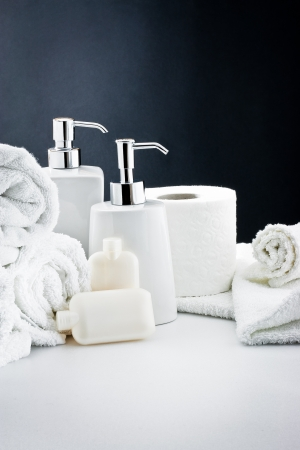 Accessories for bath: Soap,towel and toilet paper photo