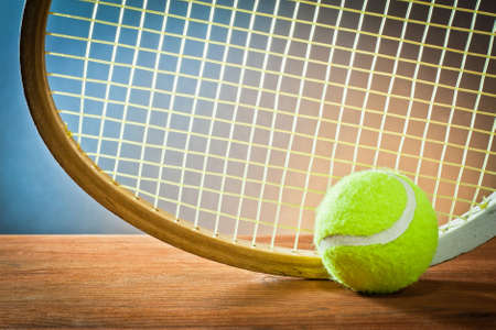 tennis stadium: Sports equipment.tennis and racket on wood