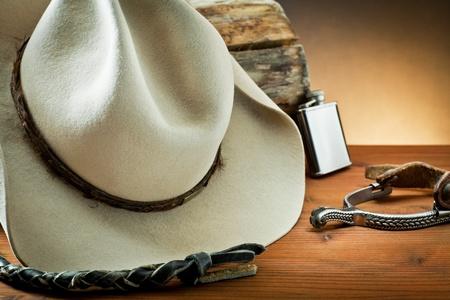 rodeo americano: Accesorios Vaquero en la madera Foto de archivo