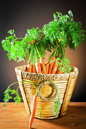 Bunch carrots in wooden basket   photo