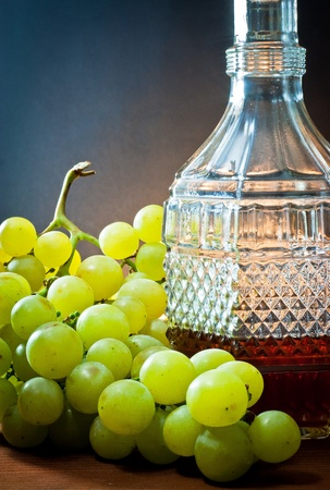 pricey: grapes,wine and bottle liquor  Stock Photo