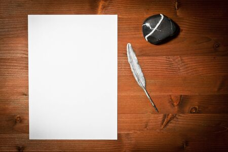 piece of paper: paper white and ancient pen on wood  Stock Photo