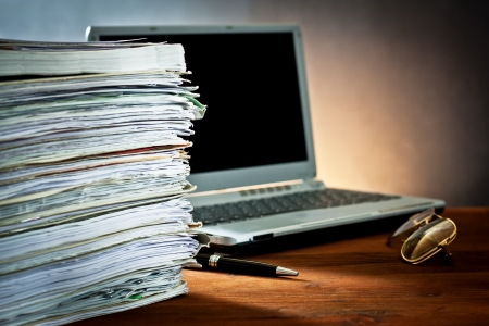 publishing: newspaper,document and laptop  Stock Photo