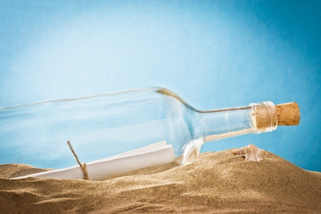 message in bottle on sand