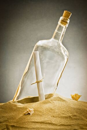 message in bottle on sand  photo