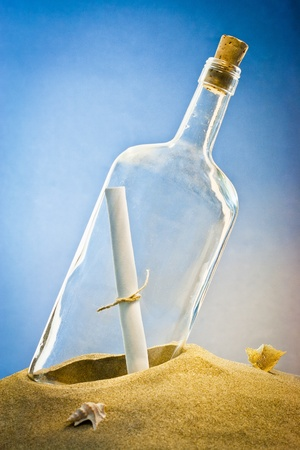 castaway: message in bottle on sand