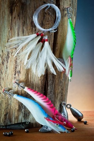 angling: equipment from fisherman with fly fishing