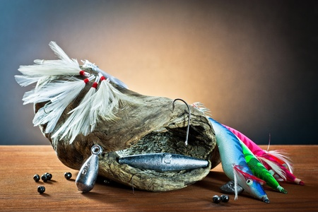 spinner: equipment from fisherman with fly fishing