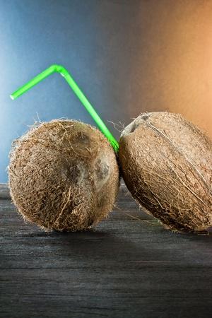 coconut on wood  photo
