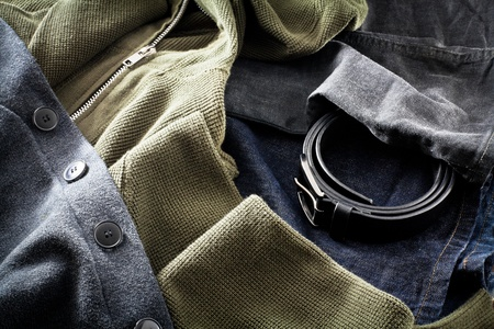 sweatshirts: Mens jeans with belt and sweatshirts