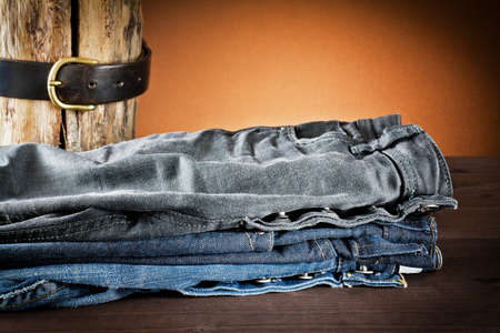 young man jeans: jeans a variety of colors Stock Photo