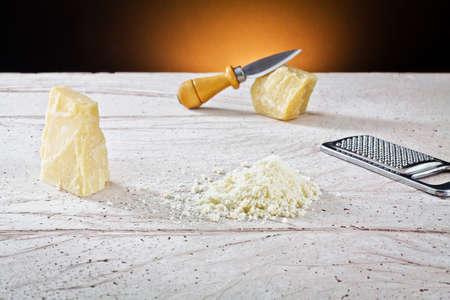 parmesan cheese: grated parmesan cheese  Stock Photo