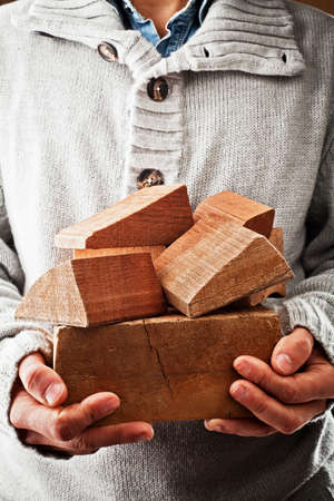 forniture: construction with pieces of wood  Stock Photo