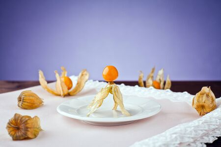 cape gooseberry: physalis in white dish towels