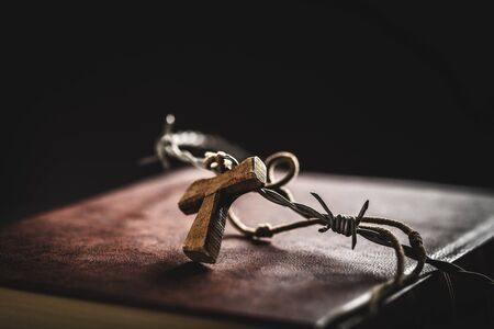 crown of thorns,bible and crucifix photo