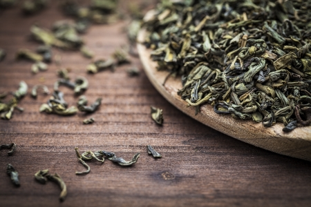 herb tea: leaves of green tea