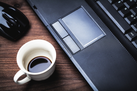 laptop and coffee cup  Standard-Bild