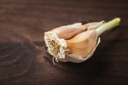 garlic on wood photo