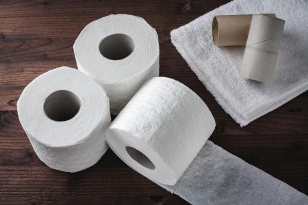 sanitary towel: paper toilet rolls