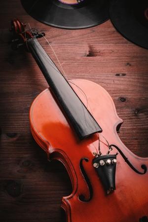 broken violin and vinyl