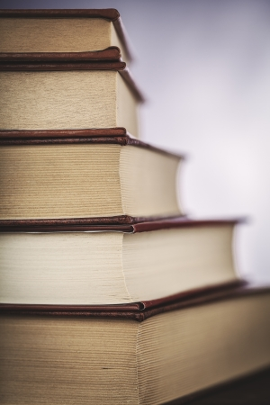 open bible: stack of books  Stock Photo