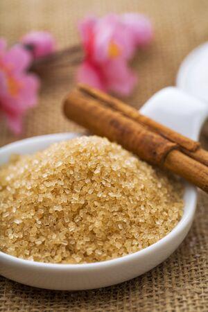 refined: refined white sugar and brown sugar demerara Mauritius and cinnamon