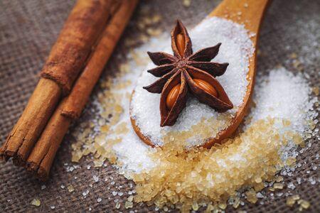 refined: refined white sugar and brown sugar demerara Mauritius,cinnamon and anise.