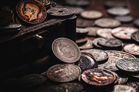 monete antiche: vecchie monete in petto Archivio Fotografico