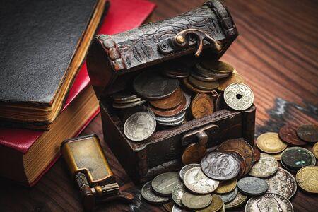 monete antiche: vecchie monete e vecchio oggetto Archivio Fotografico