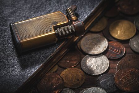 old coins and old lighter