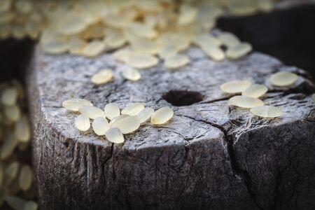 brown rice on cutting board