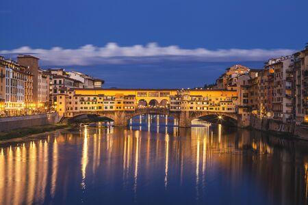 Florence city.View of Ponte Vecchio bridge in Italy Standard-Bild