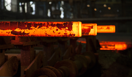 stell: hot stell slabs on stell mill conveyor Stock Photo