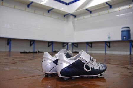 showers: Football Boots in Showers after a Game