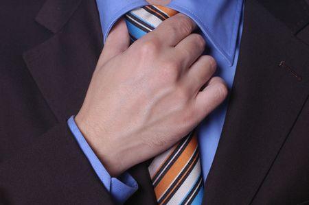 silk wool: Businessman fixing his tie