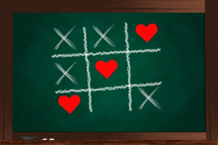 tic tac toe: A green chalkboard with Tic Tac Toe game played with love Stock Photo